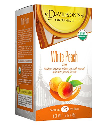 Davidson's Tea White Peach, 25-Count Tea Bags (Pack Of 6)