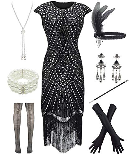 Women 1920s Vintage Flapper Fringe Beaded Gatsby Party Dress with 20s Accessories Set (L, Style 2-Black -