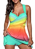 BeneGreat Womens Plus Size Swimsuit Colorful Tankini Set 2 pcs Swimdress Bathing Suit with Boyshorts Lakeblue 3XL