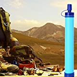 Yumian Personal Water Filter, Straw Purifier Survival Gear, Hiking Camping Emergency Equipment Desert Camouflage Supplies Blue