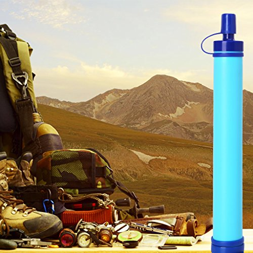 Yumian Personal Water Filter, Straw Purifier Survival Gear, Hiking Camping Emergency Equipment Desert Camouflage Supplies Blue by Yumian