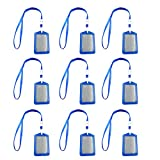 10PCS Vertical Style PU Leather Card Badge Holder with Lanyard for ID School Work Document Cards Blue