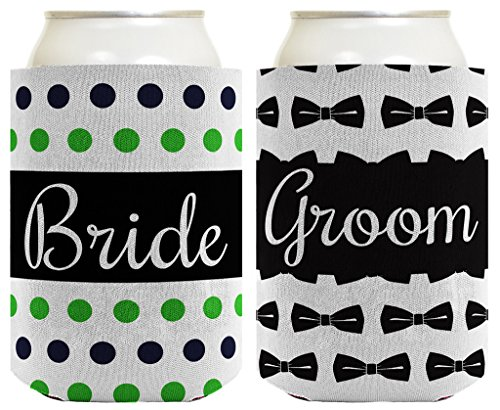 Wedding Coolie Bride Groom Marriage Bowtie Polka Dots Bridal Shower Gift 2 Pack Can Coolie Drink Coolers Coolies Premium Full Color ()