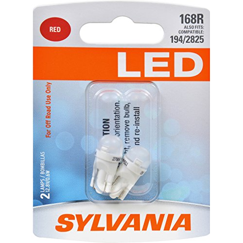 SYLVANIA - 168 T10 W5W LED Red Mini Bulb - Bright LED Bulb, Ideal for Interior Lighting (Contains 2 Bulbs)