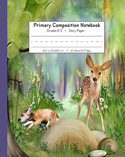 Primary Composition Book Grades K-2 Story Paper: Picture Space And Dashed Mid Line | 120 Story Pages | Watercolor Fawn Deer (Woodland Nature (2 Print Lines)