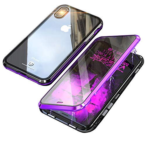 iPhone Xs MAX Case,360° Full Body,Front and Back of Clear Touchable HD Tempered Glass,with Built-in Screen Protector Magnetic Adsorption Metal Frame Cover Lightweight Fit XS MAX 6.5