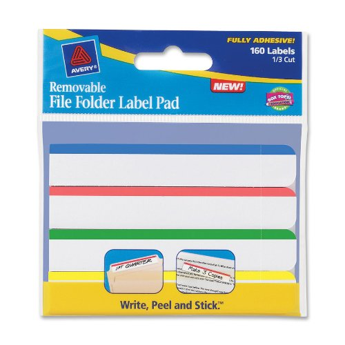 Wholesale Avery Removable File Folder Label Pad, 1/3 Cut, Assorted Top Bar, 160 Labels (22026)