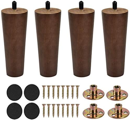 Sangle Sopffy 4Pcs Wooden Furniture Legs 6 inch Vintage Couch Hardware Accessaries Great Sofa Replacement Legs for Armchair Recliner Coffee Table Dresser Bed,Brown