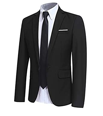 los angeles d2b91 3bbf9 Allthemen Blazer Casual da Uomo Slim Fit Formale Suit Giacche One Button  Monopetto Tuxedo Giacca Smart Blazer