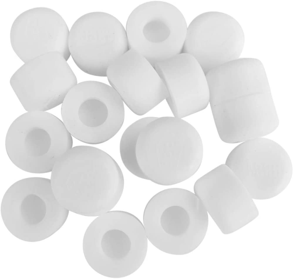 Door Stop Bumper Tips - 20 Pack White Silicone Rubber Replacement Stopper Ends with Universal Fit by ROOM STARTERS