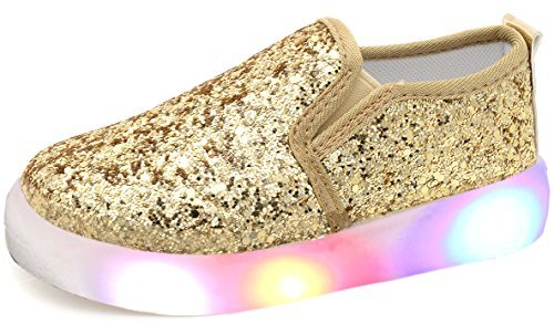 UBELLA Girl's Light Up Sequins Slip On Loafers Flashing LED Casual Shoes Flat Sneakers (Toddler/Little Kid) Gold (Glitter Toddler Shoes Girl)