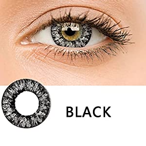 New Women Materials Multicolor Cute Charm and Attractive Contact Lenses (Black)