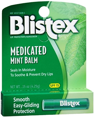 - Blistex Medicated Lip Balm Protectant/Sunscreen SPF 15 Mint, 0.15 OZ