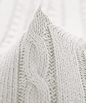 Silver Gray, 130 x 170 cm NTBAY 100/% Cotton Cable Knit Throw Blanket Super Soft Warm Multi Color