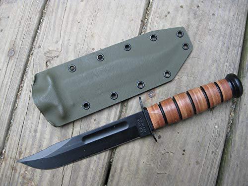 Valhalla Custom Kydex Sheath Ka-bar 1217 Fighting Knife OD GREEN Two Piece