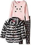 Betsey Johnson Little Girls' 3 Piece Two Tone Faux Fur Jacket Set, Light Pink, 5