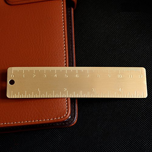 Shuxy Gold Brass Ruler Handy Straight Ruler Vintage Metal Copper Bookmark Cm Inch Dual Scale Engraved 4 72   12Cm  Set Of 2
