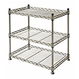 HUBERT Countertop Merchandising Rack 3-Shelf Soft Silver Steel Countertop - 18'' L x 12'' D x 18 1/2 H