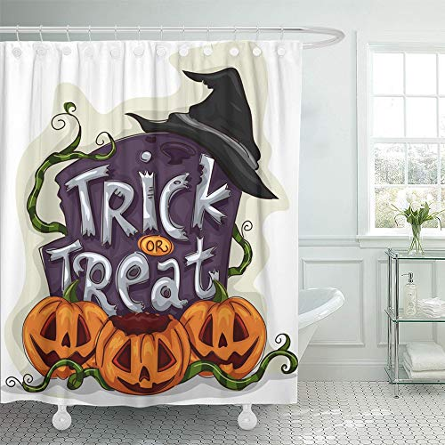 Emvency Shower Curtain Set with Hooks Polyester Fabric Waterproof Adjustable Cartoon Halloween of Tombstone with Trick Treat Written on It Spooky Clipart 72 x 72 Inches for Bathroom]()