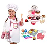 Melissa & Doug Bake and Decorate Cupcake Set with Sweet Treat Tower and Chef Role Play Costume
