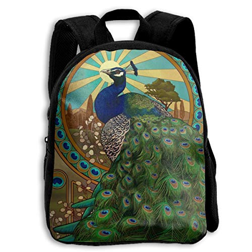 - School Backpack Art Nouveau Peacock For Kids Elementary School Bags Bookbag