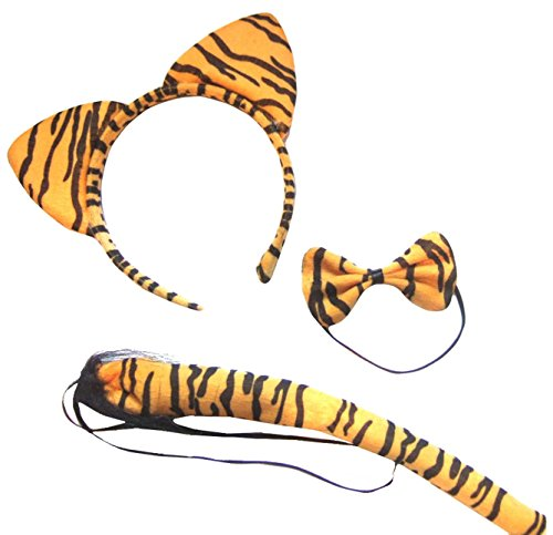 Tiger Ears And Tail Costume (Orange Black Stripe Tiger Wild Animal Cat Ears Band Bow Tail Fancy Dress Up Set)