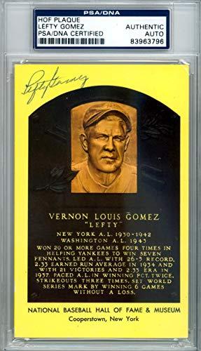 Lefty Gomez Autographed HOF Plaque Postcard #83963796 PSA/DNA Certified MLB Cut Signatures