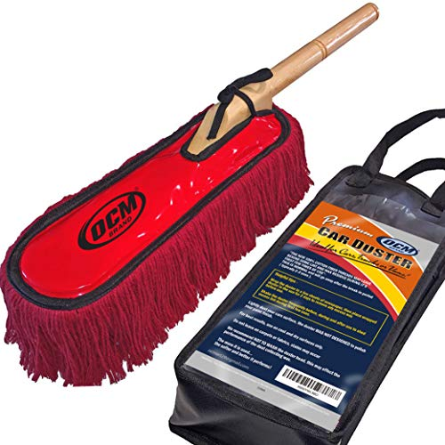 OCM Brand Premium Extra Large Car Duster with Durable Solid Wood Handle Includes Storage Cover - Professional Detailers Top Choice in USA