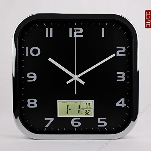 Square Chrome Plated Clock - Y-Hui Square Mute Wall Clock Calendar Electronic Clocks Living Room Wall Table Quartz Clock Bedroom Clock, 12-Inch (30.5 Cm Diameter), Chrome Plated