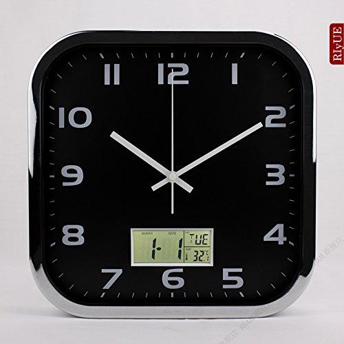 - Y-Hui Square Mute Wall Clock Calendar Electronic Clocks Living Room Wall Table Quartz Clock Bedroom Clock, 12-Inch (30.5 Cm Diameter), Chrome Plated
