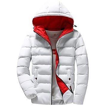 LILICAT✈ Traje de algodón con Capucha de Color Liso cálido Hombres Hombres Casual Chaqueta de Abrigo de Invierno con Capucha cálida Outwear Chaqueta Top ...