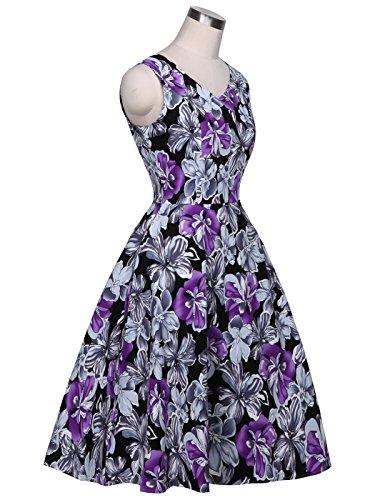 Negro Rockabilly Vintage Flores S COUPLE DRT072 1950S Vestido Baile Morado FAIRY de Lunares nSB6xRw