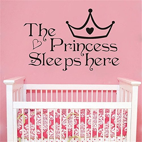 DIY-stickers Vinyl Decal Quote Art The Princess Sleep Here Girl Baby Bedroom Kids Poster Homemural 13.4X8.7Inch