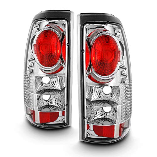 For [Altezza Style] 99-02 Silverado | 99-06 Sierra Pickup Truck Rear Chrome Clear Tail Lights Brake Lamps Replacement