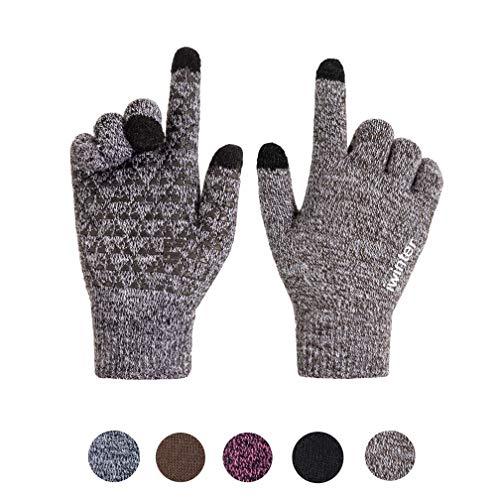 Xuzirui Winter Warm Touchscreen Gloves for Women Men Knit Wool Anti-Slip Thermal Soft Lined Texting (Coffee White, L)