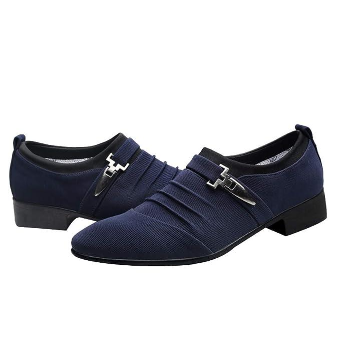 Zapatos de hombre JiaMeng Suave Respirable Cuero Moda Casuales Punta Estrecha Zapatos Formales Zapatos de Lona Zapatos de Negocios de Moda Ponerse Zapatos: ...