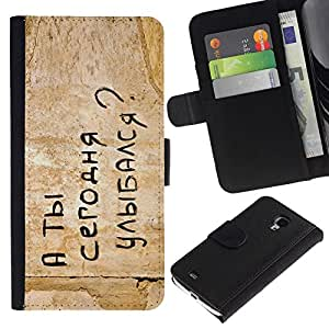 All Phone Most Case / Oferta Especial Cáscara Funda de cuero Monedero Cubierta de proteccion Caso / Wallet Case for Samsung Galaxy S4 Mini i9190 // FUNNY - RUSSIAN MESSAGE