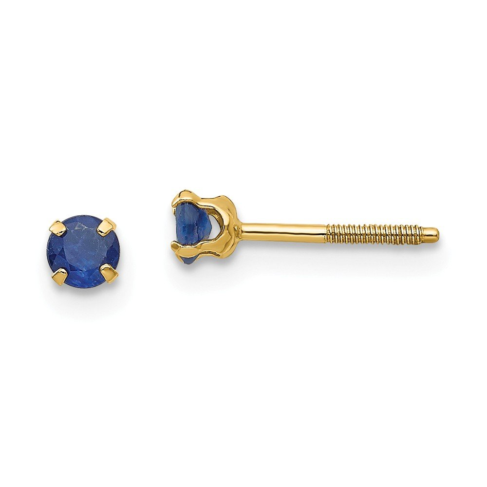14K Yellow Gold Madi K 3mm Sapphire Birthstone Screw Back Stud Earrings