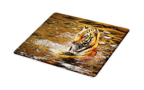 Lunarable Animal Cutting Board, Wild Life Safari Big Cat Tiger with Stripes in a African Lake Swimming Nature Print, Decorative Tempered Glass Cutting and Serving Board, Large Size, Multicolor by Lunarable
