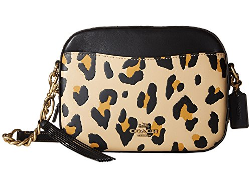 COACH Women's Leopard Print Blocked with Rivets Camera Bag Leopard One ()