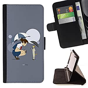 - Anime Fairytale Cat Girl Umbrella Cartoon Moon/ Personalized Design Custom Style PU Leather Case Wallet Flip Stand - Cao - For HUAWEI P8 Lite