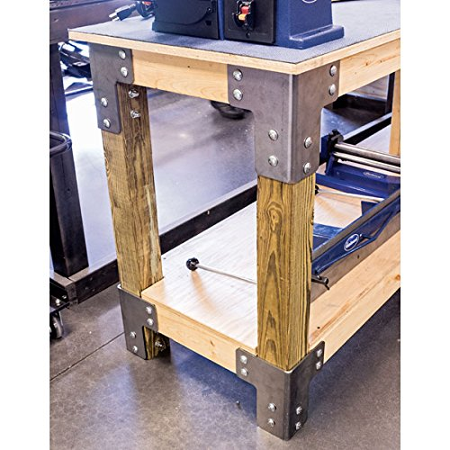 (Eastwood 8 Pieces Sturdy Steel Angle Brackets Shop Table Kit Unpainted Bare Steel Multi-Angle Joint Fastener Shelf Support For Desk Edge & Box & Wood Beam)
