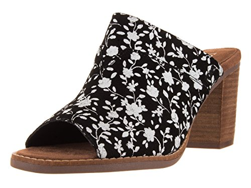 9b3511545e3 Galleon - Toms Majorca Mule Sandals Black White Floral Suede 10007902 Womens  5.5