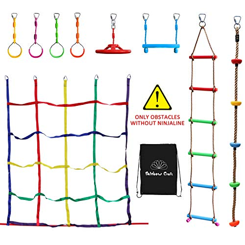 Portable Colorful Climbing Accessories for Ninja Obstacle Course - WITHOUT Ninja slackline - Including 4-pack Ninja Ring, Swing wheel, Trapeze bar, Climbing Ladder, Climbing Net and Climbing Rope (Buy Rope A Swing)