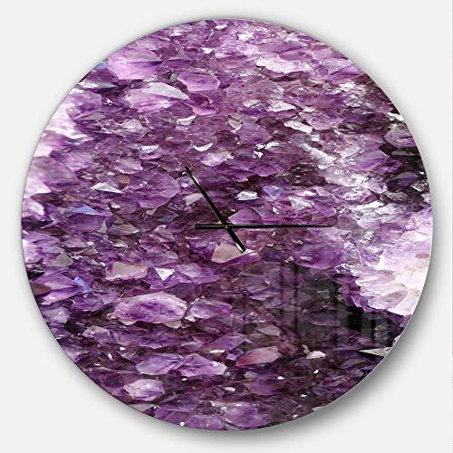 Modern Precious Metals - Designart Purple Precious Stones' Oversized Modern Metal Clock, Circle Wall Decoration Art, 38x38 Inches