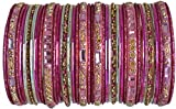 BangleEmporium Paisley Collection: Pink Indian Bangle Set Size Small 2.6