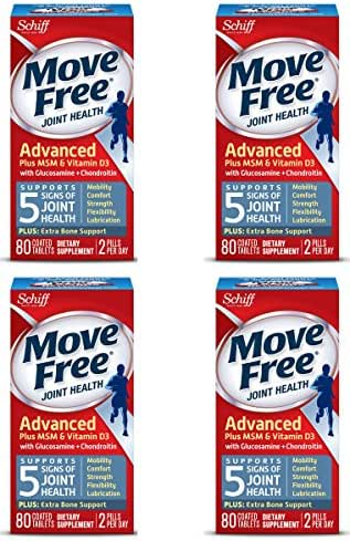 Move Free Advanced Glucosamine Chondroitin MSM Vitamin D3 and Hyaluronic Acid Joint Supplement, 80 Count (Pack of 4)