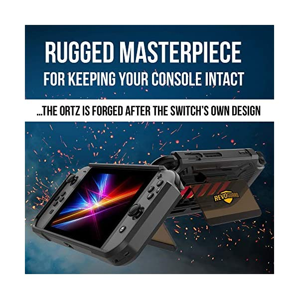 RevoGuard Slim Heavy Duty Switch Case [Stores 5 Games] Compact Multi Angle Holder Play Stand for Nintendo Switch 6