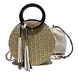 Veenajo Womens Round Straw Handbags Clutch Purses Crossbody Summer Beach Tote Bag Satchel