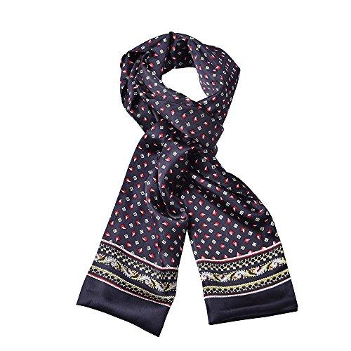 Silk Mens Neckerchief (Fashion Cute Pattern Men Silk Scarf Double Layer Silk Satin Neckerchief (Black))